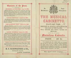 Advert For H. F. Fairweather's Musical Cabinetto